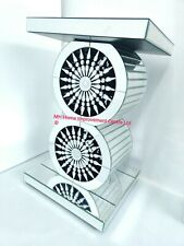 Crystal End Table Double Circle Sparkly Amazing Design Silver Mirrored