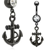 BLACK STEEL SHIP ANCHOR BELLY NAVEL RING CLEAR GEM DANGLE BUTTON PIERCING B713