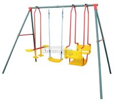 Hurricane Triple Swing Set with Boat Glide & Single Swing Seat Backyard Swings