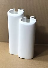2 Dansk Mid Century Modern Vases ~ Graduated Interlocking White Ceramic ~ Crack
