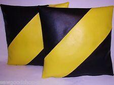 "2 Black & Yellow Diagonal Stripe Faux Leather Cushion Covers 16"" 18"" 20"" Pillows"
