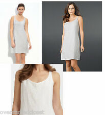 Eileen Fisher Handkerchief Linen Sequinned Sleeveless Tank Dress Silver Gray 4