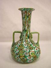 "Fratelli Toso 6 1/4"" Millefiori Art Glass 2 Handled Vase"