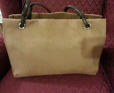 New Women's Faux Suede Tan Shoulder Work School Bag Purse Sag Harbor