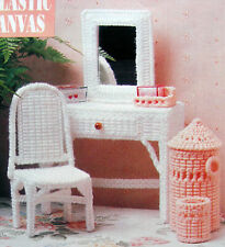 Plastic Canvas Pattern Only:  Barbie's 5-Piece Vanity Set ~ Chair Tray Hamper ++