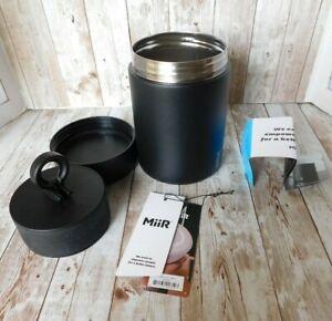 Miir Coffee Canister 12oz Stainless Steel BPA Free Black Accordion Seal