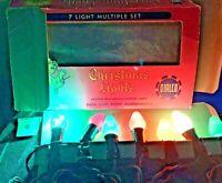 RARE WORKING VINTAGE 7 LIGHT SET BOX CHRISTMAS With ORIGINAL BRIGHT COLORED BOX