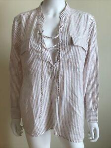 NEW MADEWELL Women Large Airy Cotton Tunic Casual Shirt Top White Resort Cruise