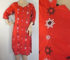 Vintage 1980s Red Silver & Black Abstract Cotton Ethnic Layer Kurta Dress Small