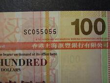 HONG KONG 2009 HSBC 100 DOLLARS, FANCY REPEATER NUMBER SC 055055, ULTRA GEM UNC