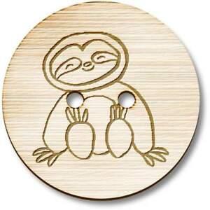 'Cute Sloth' Wooden Buttons (BT025826)