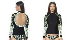 Peter Pilotto for Target Black & Green Floral Rashguard Swim Top Size S