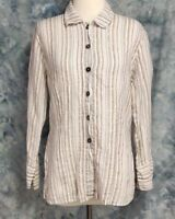 Habitat Womens sz S White Brown Striped Linen Long Sleeve Button Side Split Top