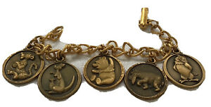 vintage disney signed pooh bear Winnie The Pooh 5 charm bracelet