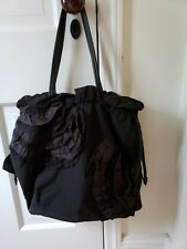 TAHARI BLACK SILK SATIN TAFFETA LEATHER ROSETTE SHOULDER BAG HOBO TOTE SLOUCH