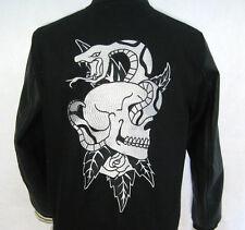 PACSUN Mens Black Streetwear Embroidered Varsity Jacket (Medium) Skull & Roses