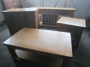 Oak Furniture Set, Sideboard, Coffee Table and 2 Draws, Solid, Heavy, Matching