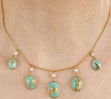 Splendido Victorian Arts & Crafts 15 KT GOLD Turchese & Collana Di Perle c1885