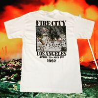 Vintage LA Riots 1992 Fire And City Single Stitched RARE Shirt Deadstock VTG HTF