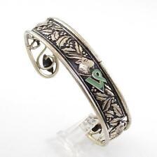 Vintage Sterling Silver December Holy Reindeer Enamel Cuff Bracelet