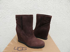 UGGS JADE LODGE BROWN OILED SUEDE/ SHEEPSKIN WEDGE ANKLE BOOTS, US 11 ~ NEW