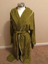 Small Green 100% Cotton Hooded Bathrobe The Madison Collection