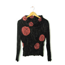Paris Chic size S textured crinkle velour velvet black red beads top blouse art