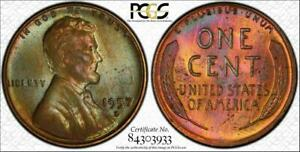 1957-D Lincoln Wheat Cent PCGS MS65BN TrueView Beautiful Color Toned GEM