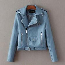 F Blouson Perfecto Femme Cuir Synthétique Veste Fermeture Blazer Manteau Bleu XL