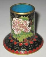 Asian Cloisonne Flowers Toothpick Holder, Candlestick Holder, 2""
