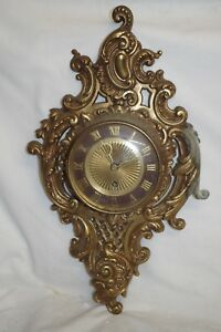 Germany French Rococo Antique Bronze Ornate Eight Day Clock Jeweled & Key Works