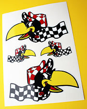 HOT ROD Retro 'RACING CROW' vintage Sticker Decal set Ford Chevy KUSTOM CAR