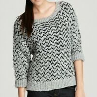 Joie Women's Nico Chevron Wool Blend Sweater Cropped Pullover Top Gray Black XS