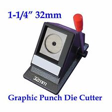 """Graphic Punch Die Cutter Round 1-1/4"""" 32mm Multi Sheets Stack Paper Button Maker"""