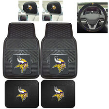 7pc NFL Minnesota Vikings Heavy Duty Rubber Floor Mats & Steering Wheel Cover