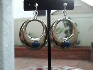 Lovely Silver Tone Open Circle with Blue Stone Hoop Dangling Clip On Earrings