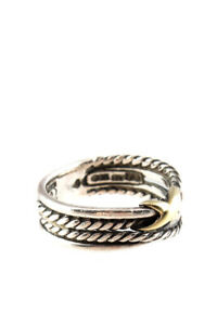David Yurman Womens Sterling Silver 18 KT Yellow Gold X Crossover Ring Size 6.75