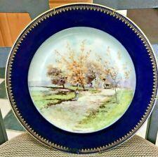 Vintage Plate B & C France Eh. Lazeyras Limoges Cobalt Blue Woman Walking Scene