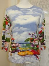 """Artscapea Women's Top Blouse 3/4 Sleeve Sequins Vacation Theme Size S Chest 40"""""""