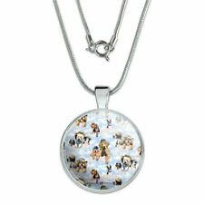 """Dogs Puppies Club Pattern 1"""" Pendant with Sterling Silver Plated Chain"""