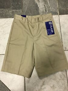 NEW Girls @ Class School Uniform Khaki Shorts Pockets Sz 10 Waist 25