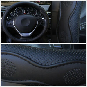 Auto Car Embossed Style PU Leather Steering Wheel Cover Black For Four Season