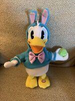"Disney Hallmark 12"" Donald Duck Easter Plush Animated Walking Talking Singing"