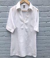 TU White 100% Linen Tunic Top/Dress Size 14