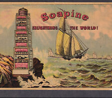Lighthouse Enlightening the World 1800s Ship Soapine Soap Advertising Trade Card
