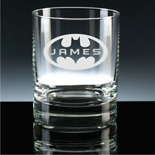 Personalised 10oz Batman Whisky Glass With Any Name
