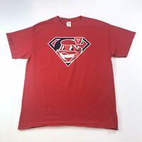 Superman MLB Cleveland Indians Baseball Red Cotton T-shirt Mens Size Large #906