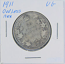 CANADA: 1911 Godless Rex 50 Cents Silver Coin - Graded VG