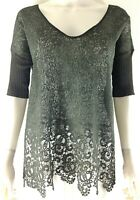 Lauren Vidal Womens Size S Top Olive Green Lace Sheer 3/4 Ribbed Sleeve Pullover
