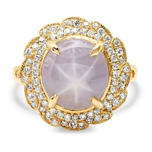 Star Sapphire Diamond Ring 14K Gold Certified Natural 6 Star Asterism 7.14TCW